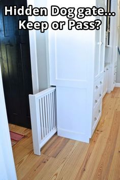There are a lot of really great advantages to working with a cabinet builder. One of the biggest is customization. In many ways, the sky is the limit. (Assuming you can afford it.) In our case, our… house ideas Built-in hidden dog gate - NewlyWoodwards