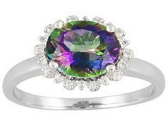3.25ct Oval Green Mystic Topaz(Tm) With .11ctw Round White Topaz Sterling Silver Ring