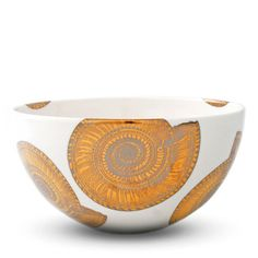 """Gold & Platinum Shell Bowl 8"""" round bowl details a shell from the ocean floor"""