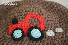 Tractor crochet applique for the boys hat