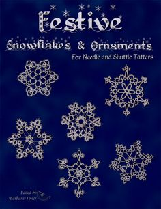 Patterns are for needle and shuttle tatters, for beginners and up. Patterns are snowflakes and motifs. The snowflakes and motifs can be used to put over the satin covered balls and eggs.Approx. 18 patterns and 24 pages.