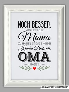 "Original print – ""BEST OMA"" art print, Mother's Day gift – a unique product by Smart-Art-Art on DaWanda by kathisebi Diy Gifts For Men, Diy Mothers Day Gifts, Crafts For Teens To Make, Diy And Crafts, Easy Crafts, Smart Art, Father's Day Diy, Dollar Store Crafts, Canvas Art Prints"