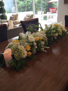 long table flowers cascade calla lily with ornaments candles