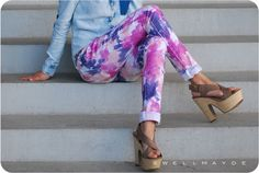To add some color to your wardrobe, tie-dye your jeans. | 30 Hella Easy Ways To Seriously Transform Your Old Jeans