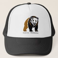 Grizzly bear - trucker hat   gifts for hikers, hiking womens, hiking gear list #hike #outdoorgift #wilderness, 4th of july party Hiking Gear List, Wilderness, Hats, Stuff To Buy, Hat