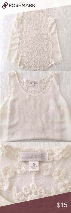 Ivory Embroidered Sheer Back Lace Tank Brand is Charming Charlie. No flaws or stains. Anthropologie Tops Tank Tops