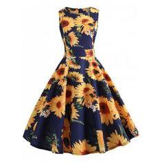 5fdb7277e5e Castle Print Sleeveless Tunic Women Vintage Dress Floral Summer Dress 2018  Retro Rockabilly Party Dresses With Belt jurken