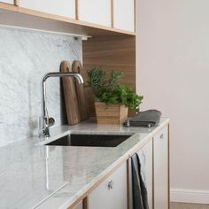 Helsingö: quality kitchens and wardrobes with IKEA cabinets frames. INGARÖ kitchen in Feather Grey with PARASOL Polished Aluminium Handles. Ikea Cabinets, Quality Kitchens, Ikea Furniture, Kitchenette, Cupboard, Kitchen Design, Instagram, Ikea Hacks, Wardrobes