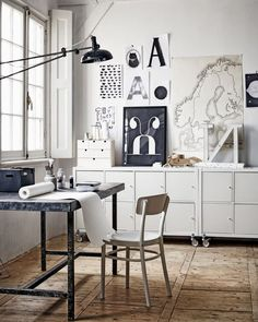 Home Office Studio Creative Workspace Inspiration 45 Ideas Home Office Vintage, Home Office Space, Office Workspace, Home Office Design, House Design, Industrial Workspace, White Industrial, Office Decor, Office Ideas