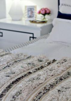moroccan wedding blanket in bedroom via Mint Love Social Club