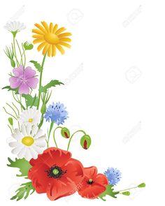 poppy corner machine embroidery design rh pinterest com Flower Border Clip Art Retro May Flowers Clip Art Borders