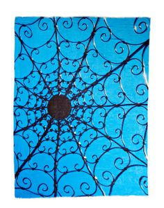 Title: Architecture 6 ... Intricate ironwork, inspired by the web of life, contrasted with the simple brilliance of a Cerulean blue sky.  Photo taken after an early spring snowfall in Middleburg, Virginia.