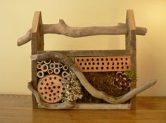 Bee house Rustic mason bee house bug house by FlotsamJetsamCrafts