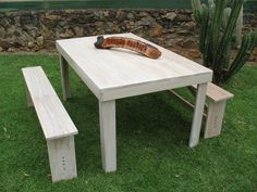 White Oak dining table with matching benches White Oak Dining Table, Outdoor Furniture, Outdoor Decor, Benches, Teak, Carving, Wood, Accessories, Design
