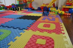 Rubber tiles for the basement playroom--easy to clean if we get any water in the basement