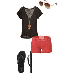 Casual Coral- Easy Summer Style if those shorts were longer, this would be adorable