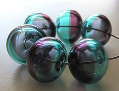 Teal and Purple Lampwork Glass Hollow Beads