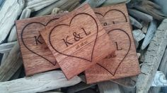 Christmas Gift Couple Wood Engraved Coasters by FineGiftsEngraving