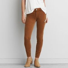 AE Cord X4 Jegging ($25) ❤ liked on Polyvore featuring pants, leggings, brown, legging pants, stretch jean leggings, stretchy jean leggings, long pants and leggings jeggings