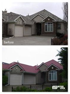 red roof cream windows trim gutters brown garage house color