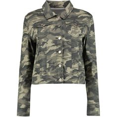 Boohoo Blue Ally Camouflage Denim Jacket (825 MXN) ❤ liked on Polyvore featuring outerwear, jackets, bomber jacket, puff jacket, jean jacket, camo jacket and camoflauge jacket
