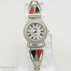 Southwestern Style Collezio Ladies Watch Pearlized Dial Silver Tone Flex Band SuzePlace.com