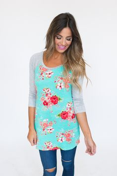 Solid Sleeve/Floral Baseball Tee- Mint - Dottie Couture Boutique