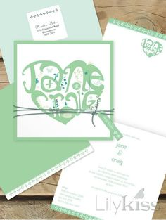 Heart typography wedding invitation, lilykiss.