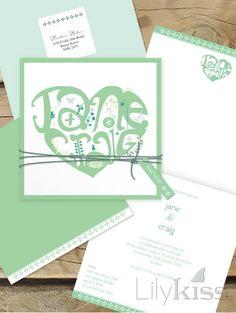 Heart typography wedding invitation, lilykiss.