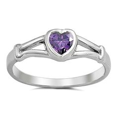 .925 Sterling Silver Ring size 2 Heart Kids Midi Amethyst Baby Toe New j10 #Unbranded #Band