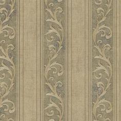 Olive Farnworth Scroll Stripe  Wallpaper