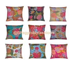 """Wholesale SET OF 9 Kantha Pillow throw Reversible Indian Cotton Cushion Cover Kantha Floral Embroidered Handmade Decorative art Throw 16"""""""