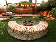 love this bench around the fire pit! Before-and-Afters of Backyard Decks, Patios and Pergolas : Home Improvement : DIY Network