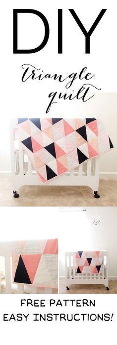 This Modern Ombre + B/W Triangle Quilt is the perfect project for new quilt makers. Easy to follow instructions and a free pattern! || See Kate Sew #quilts #freepattern #freequiltpattern #babyquilt #seekatesew Triangle Quilt Tutorials, Quilting Tutorials, Quilting Projects, Triangle Quilt Pattern, Triangle Quilts, Sewing Patterns Free, Free Sewing, Quilt Patterns, Crochet Patterns