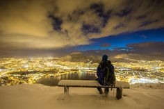 The first snow. Bergen is a city and municipality in Hordaland on the west coast of Norway Photo by Espen Haagensen-Beauty Norway People, Norway Travel, Stavanger, West Coast, Monument Valley, Places To Go, Islam, Beautiful Places, Waterfall