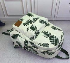 Pineapple Print Women Canvas Backpack School Book Bag Backpack Travel Bags New