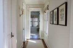 Clean, straight, big floor boards and door frames.  Not ornate to look like crown molding. Makes it look sleek, contemporary yet traditional at the same time.
