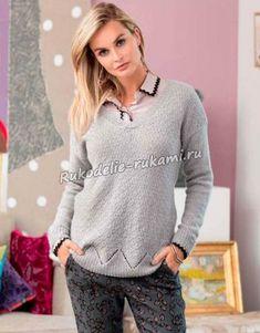 Кашемировый пуловер с зигзагообразной каймой спицами