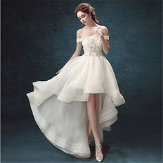 A-line Wedding Dress - Ivory Asymmetrical Off-the-shoulder Organza - USD $ 119.99