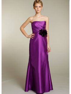Cheap A-line Strapless Floor Length/Long Purple Satin Bridesmaid / Evening /Prom/Formal/ Wedding Party Dresses