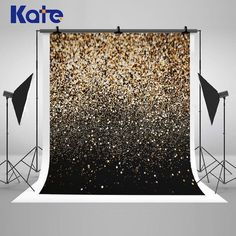 Golden And Black Glitter Photography Backdrops Wedding Photo Backgrounds For Studio Props