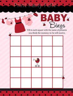 Ladybug Baby BINGO for Baby Shower, Ladybug Baby Shower Game, Printable file
