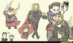 thor with kid peter...and loki at the corner