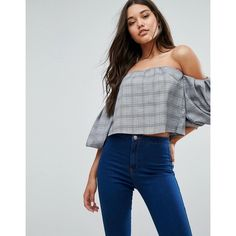 Missguided Checked Puffball Sleeve Crop Top (61 CAD) ❤ liked on Polyvore featuring tops, grey, off shoulder crop top, checkered crop top, loose crop top, off shoulder tops and bodycon tops