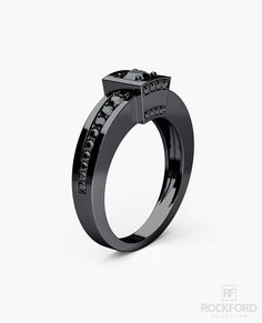 VULTURE Black Rhodium Gold Mens Wedding Ring with 0.90 ct Black Diamonds