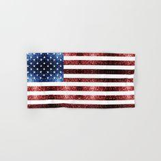 usa flag red blue sparkles glitters hand u0026 bath towel