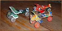Cars and airplane from Soda cans