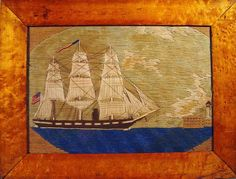 """A Rare American Sailor's Woolwork,  Circa 1870. 19"""" x 14 1/4""""    The woolie features a converted steam ship approaching a promontory of land with a lighthouse and fort along the shore. She flies an American flag from the stern and a banner, signifying her return home, from the mainmast."""