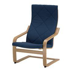 IKEA POÄNG Armchair Oak veneer/gräsbo dark blue Layer-glued bent oak gives comfortable resilience.