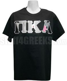 Black Pi Kappa Alpha t-shirt with the Greek letters across the chest in a special tuxedo print fabric.
